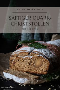 Happiness: in the Christmas bakery - Simple vegan quark Christstollen with marzipan – happiness vegan food & bakery - Vegan Sweets, Vegan Desserts, Vegan Food, Vegan Breakfast Recipes, Vegan Recipes, Graham, Sweet Bakery, Winter Food, Chocolate Peanut Butter