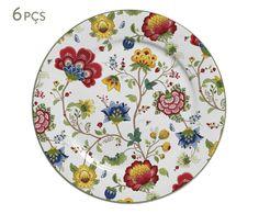 Jogo de Pratos Rasos China Flowers