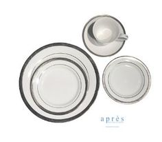"""Après Party and Tent Rental's NEW china pattern- Grand Affair. Dinner Plate 10.5"""", Salad Plate 7.5"""", Bread/ Butter Plate 6.5"""", Coffee Cup and Saucer"""