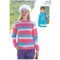 Ladies and Girls Round and Polo Neck Sweaters in Sirdar Montana Dk
