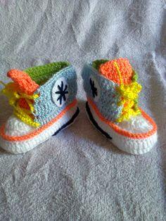 zapatillas multicolor crochet