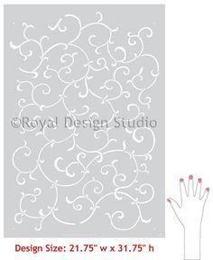 Oriental and Asian Designs - Allover Vine Wall Stencil Patterns - Royal Design Studio