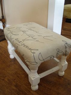 Fabric Covered Foot Stool .... Love this....Need this.... but as a table for my love seat!