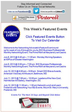 This Week's Featured Events July 8 - 14, 2013
