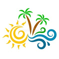 Illustration about The sun, waves and palm trees silhouette for the vacation. Illustration of background, green, silhouette - 74122349 Palm Tree Silhouette, Silhouette Vector, Tattoo Mama, Palm Tree Drawing, Coffee Cup Art, Kindergarten Design, Hawaiian Tattoo, Button Art, Vinyl Crafts