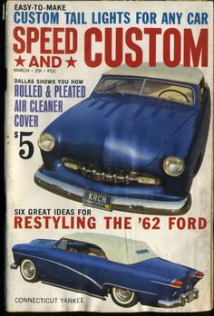 Vtg Speed and Custom Magazine March 1962 Hot Rod Tail Lights Restyling Ford