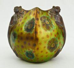 Zsolnay Art Nouveau Figural Iridescent Cabinet Vase :