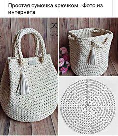 Free Crochet Bag, Crochet Tote, Crochet Handbags, Crochet Purses, Cute Crochet, Crochet Yarn, Easy Crochet, Beginner Knitting Patterns, Crochet Patterns