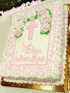 Girl Christening Cake for Baptism or First Communion GOD BLESS