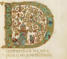 Enluminure issue d'un manuscrit réalisé pour l'évêque Drogon (821-855), fils illégitime de Charlemagne, très probablement décorés par des artistes venus du foyer rémois d'Hautvillers