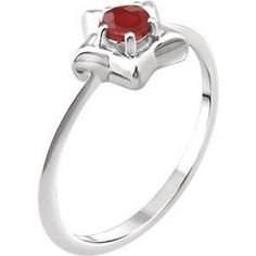 Sterling Silver Cubic Zirconia July Birthstone Youth Ring