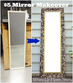 Turning a plain cheap framed full length mirror into a work of art by using about 3 sheets of peel and stick glass tiles  from Lowes or Home Depot.