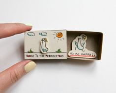 """Encouragement Card/ Inspiring Card/ Duck Matchbox / Gift box / Message box """"Today is the perfect day to be happy"""""""