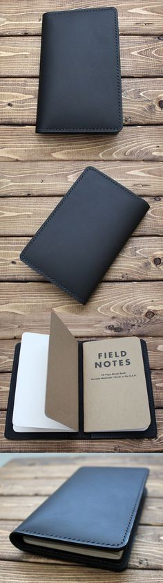 Leather Journal Cover for Field Notes, Moleskine Pocket size cahiers. Great gift for bullet journal writers, travelers, illustrators. It is made with high quality of genuine full grain leather. This hand stitched beautiful matte black journal cover is sup
