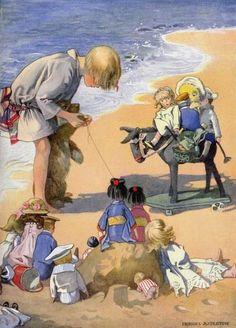 Appleton, Honor C (b,1879)- Girl w Dolls on Beach (note- Dog & Audience) -2b