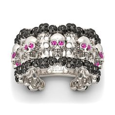 Attractive Round Cut Black Diamond & Pink Sapphire Rhodium Plated Sterling Silver Skull Ring/Women's Cocktail Ring