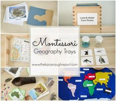 Montessori Geography Trays -- land and water forms, world map, U.S. map, continent boxes and air/land/sea matching!