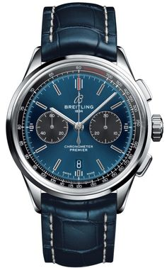 Blue dial blue leather strap chronograph watch Watches: Men's watches, brand name watches, discount watches, watches on sale, mens watch brands and ladies watches. Daily Deals on Men's watches & watches for women + . Breitling Superocean Heritage, Breitling Navitimer, Breitling Watches, G Shock Watches Mens, Army Watches, Sport Watches, Cool Watches, Male Watches, Gps Watches
