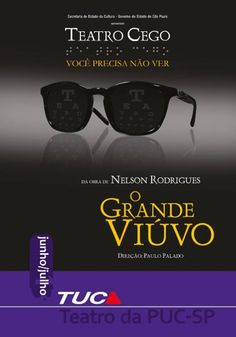 """Postal divulgado pela MiCA para a peça """"O Grande Viúvo"""", do Nelson Rodrigues, adaptada para o teatro cego.  Mais em facebook.com/micaideias"""