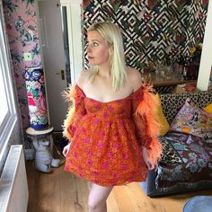 """Sara Pascoe on Instagram: """"Wore a very understated dress to turn 40. In my shy and retiring flat. Congratulations all of us on our continued living and ageing. 🥳"""" Sara Pascoe, Turning 40, Ageing, Congratulations, Shoulder Dress, Flats, How To Wear, Instagram, Dresses"""