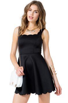 Women's Party Dresses | Scallop Hem Flare Dress | A'GACI