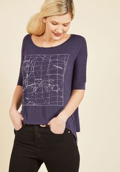 Can't Believe My Skies T-Shirt. With one touch of this navy blue T-shirt, you'll realize that stellar style can be oh-so-comfy, too! #blue #modcloth