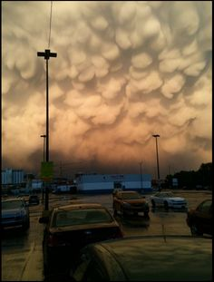 Mammatus clouds after a hail storm