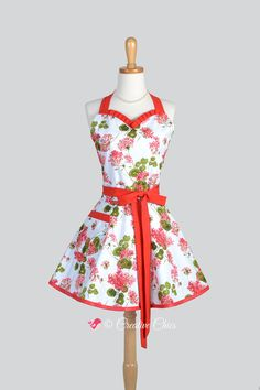 Sweetheart Retro Apron - Red Geraniums with Soft Blue Vintage Style Cute Kitchen Apron