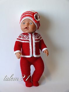 Baby Born in Red & White Crochet Outfit