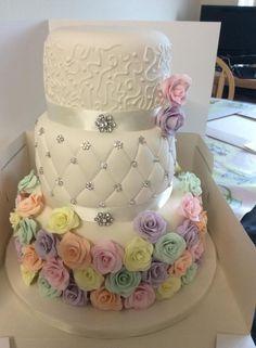 Pastel Roses Wedding Cake - Cake by Vanessa Platt  ... Ness's Cupcakes Stoke on Trent
