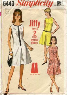 Simplicity 6443 Jiffy Sleeveless Dress Easy to Sew Bust 31 Inverted Pleat Back Zipper Vintage Retro 1960's 60's Sewing Pattern by LanetzLivingPatterns on Etsy