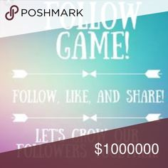 Help me with my first follow game ✌🏻️🙃 Hey my posh guys & gals! Please help me with my first follow game ! Follow me::share this post::like this post & follow everyone who liked it !!! I need more posh love sent my way(don't we all!!) . 🦄💓 Other