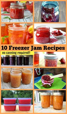 10 Super Easy Freezer Jam #recipes (no canning required!!!!)  Recipes for apricot jam, blueberry jam, strawberry jam, peach jam, blackberry jam and more!