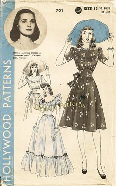 Hollywood 701 Vintage Lovely Day Dress or Evening Gown Sewing Pattern Featuring Actress Brenda Marshall Size 12 Vintage Dress Patterns, Barbie Patterns, Clothing Patterns, Vintage Dresses, Vintage Outfits, Vintage Clothing, Star Hollywood, Vintage Hollywood, Hollywood Style
