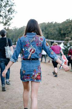Glitter + Fishnets – Spell & the Gypsy Collective Gypsy Spells, Festival Fashion, Festival Style, Denim Outfit, Boho, Vera Bradley Backpack, Fishnet, Coachella, Denim Skirt