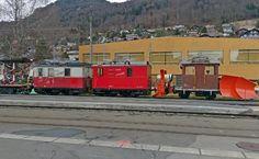 mvr-hge-2-2-1-2-xrot91-blonay MVR HGe 2/2 2, HGe 2/2 1, Xrote 91 -- Blonay -- 12.03.2018 Locomotive, Train Suisse, Trains, Miniature, Electric Train, Mini Things, Locs, Train