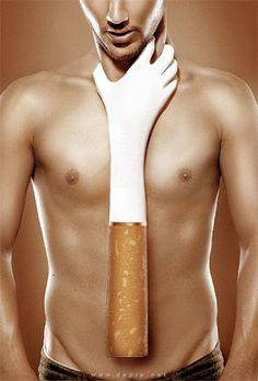 Aquesta metafora reprensenta que el tabac mata, pero d'una forma literal.