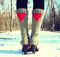 Leg Warmers Knit Tan Red Heart Valentines Day Teen Leggings Womens Ladies Adult Crochet on Etsy, $54.00   Super cute!!!  Love these.