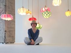 Artist and designer Sachie Muramatsu creates delicate lamp shades that resemble flowers and are made from traditional Japanese washi paper Homemade Lamp Shades, Homemade Lamps, Flower Lamp, Flower Lights, Paper Flowers Diy, Felt Flowers, Diy Lustre, Luminaria Diy, Trip The Light Fantastic