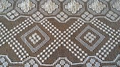 Antique 30s Amazing Tablecloth/Vintage French Long Tablecloth/Gorgeous White Handmade French Knotted Cluny Bobbin Filet Lace Tablecloth