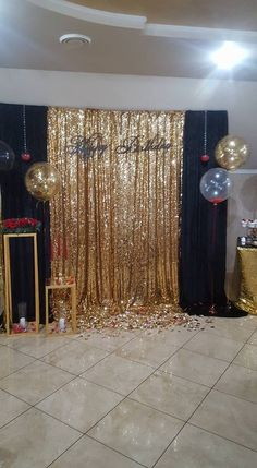Gold Sequing Backdrop 40th Birthday Parties 70th Celebration Masquerade Party