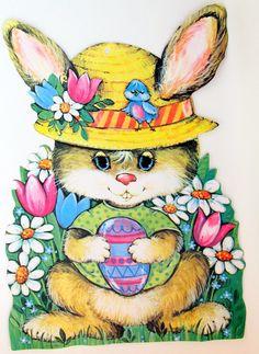 Vintage Easter Die Cut Bunny
