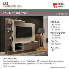 Rack Tv Mesa Led Lcd Mueble De Comedor Modular Home Theater - $ 2.490,00