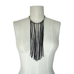 Leather fringe necklace on stainless steel chain dark brown  & silver  vintage chain up-cycled leather