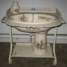 Child's antique French Sarreguemines Kate Greenaway Enfants Richard Roses washstand set