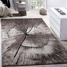 Edler Designer Teppich Wohnzimmer Holzstamm Baum Optik Natur Grau Braun  Beige Teppich Braun, Teppich Design