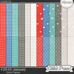 #2016 January - Extra Papers by Connie Prince. Includes 24 basic pattern papers. Saved in JPG format. Scrap for hire / others ok.