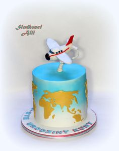 Plane Cake by Alll Airplane Birthday Cakes, Birthday Cakes For Men, Cakes For Boys, Airplane Cakes, Cake Birthday, Birthday Parties, Planes Cake, Family Cake, Retirement Cakes