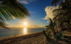 Herunterladen hintergrundbild strand, sonnenuntergang, meer, palmen, cook-inseln, rarotonga, pacific ocean