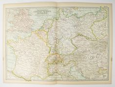 Vintage Europe Map 1899 Travel Map of Europe, European Decor, Art Map Gift for Couple, Unique Wedding Gift, 1st Anniversary Gift for Her available from www.OldMapsandPrints.Etsy.com #EuropeTravelMap #Vintage1899MapofCentralEurope #EuropeanVacationGift